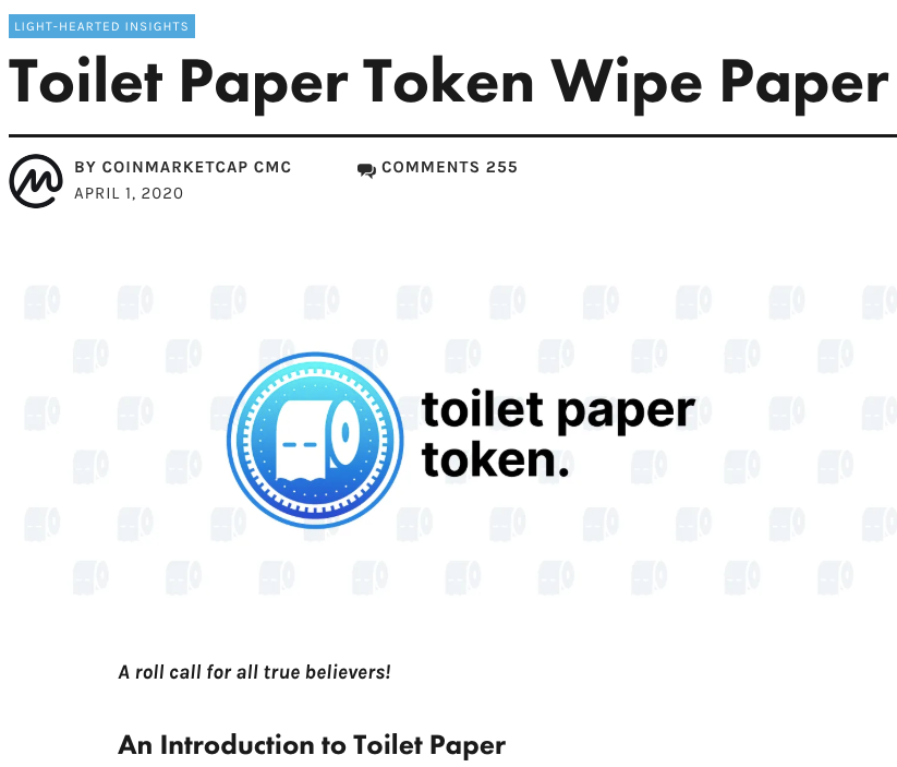 Daily Dose: Toilet Paper Token