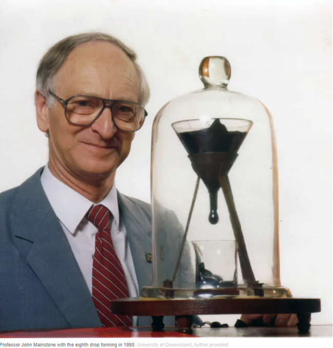 The Pitch Drop Experiment and Bitcoin